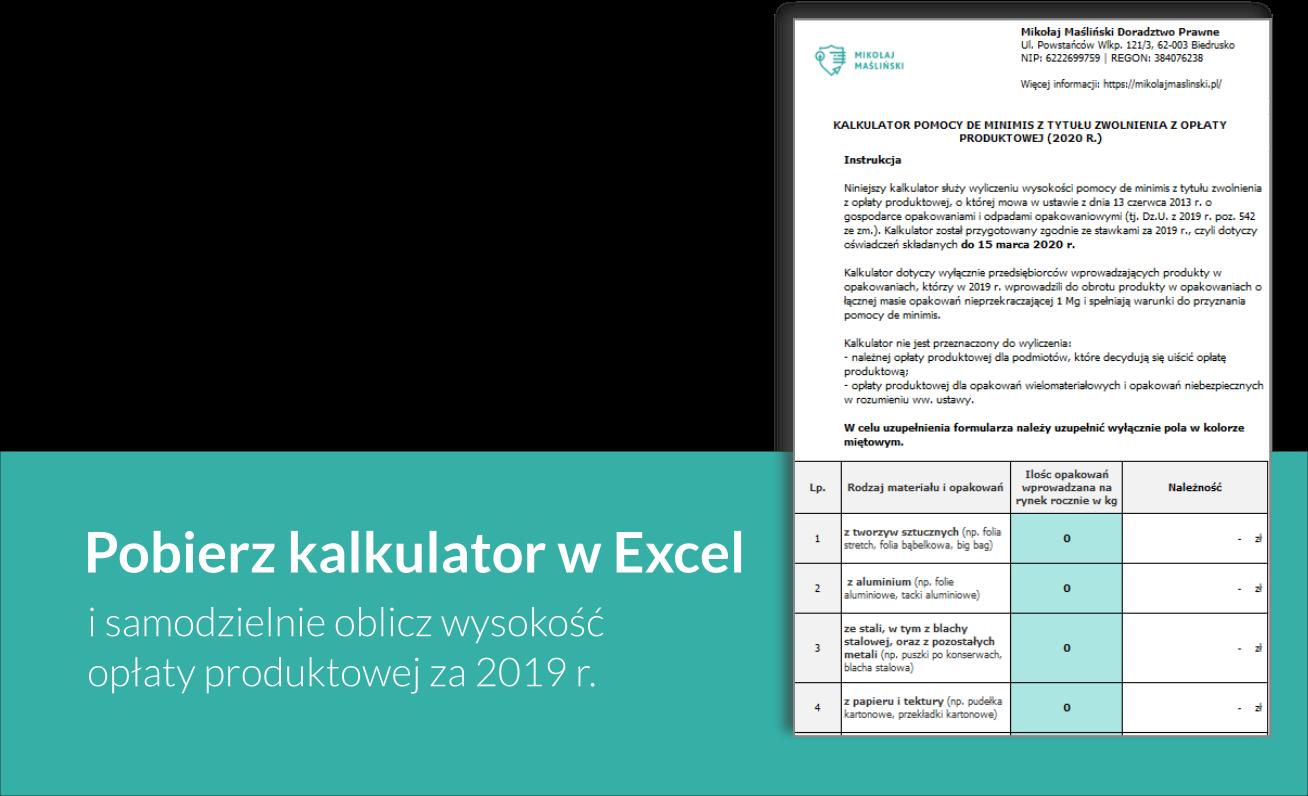 Opłata produktowa kalkulator w excel Mikołaj Maśliński